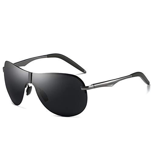 LKVNHP Frameless Herren Driving Sonnenbrille Polarized Day Night Driving Sonnenbrille Mann Randlos Schwarz Braun Gelb Objektiv Uv400 MännlichGrau Schwarz