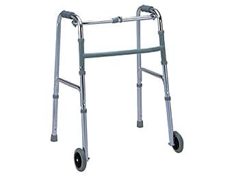 Deambulatore per anziani con 2 ruote anteriori, altezza regolabile 79-97cm, molto leggero e resistente