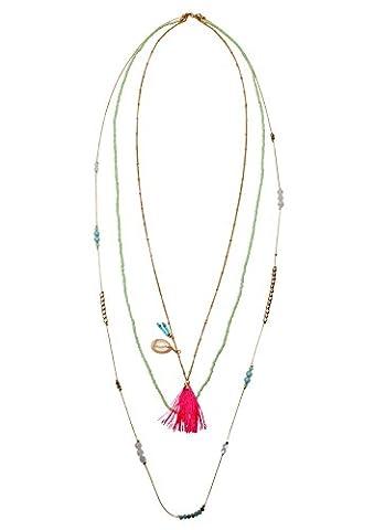 Happiness Boutique Damen Mehrreihige Kette mit Quaste Tassel Anhänger und Muschelschale | Lange Bunte Halskette (Leicht Unter Dem Meer Kostüme)