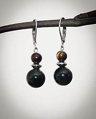 Boucles d'oreilles dormeuse courte, pierre naturelle obsidienne noire, oeil de tigre, acier inoxydable argent