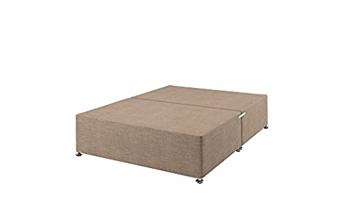 Happy Beds Quality Solid Top Divan Base with Sand Fabric Divan Base/No Drawers/No Headboard, Double (135 x 190