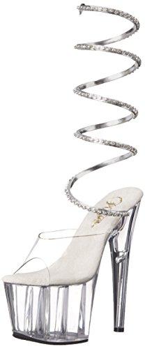Pleaser ADORE-791 - Sandalo da donna con tacco e plateau Slv-Clr/Clr