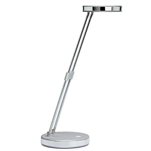 Maul LED Tischleuchte, Schreibtischlampe mit Teleskoparm, höhenverstellbar, integrierte LED, aus Metall und Kunststoff, silber/grau 8201295