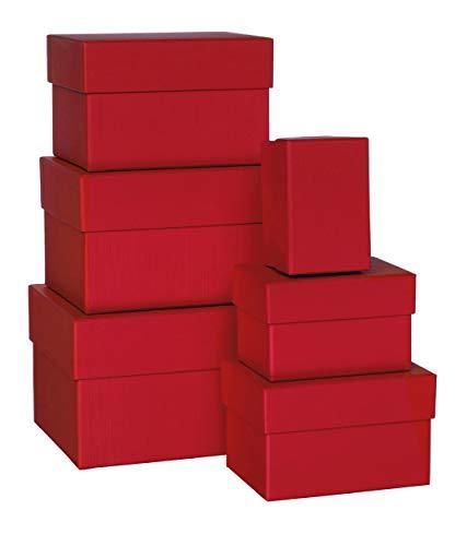 Rössler Papier Boxle 1344453360 Lot de 6 boîtes rectangulaires en carton Rouge Tailles variées