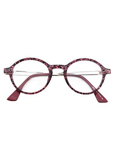 CGID CN94 Klassische filigrane Retro Brille Damen Herren Hornbrille im Vintage Stil,Violett Spot