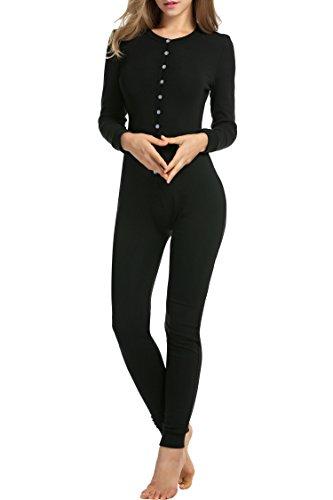 HOTOUCH Damen Langarm Strampler Jumpsuit Onesie Thermo Unterwäsche Stretch Nachtwäsche Thermowäsche mit Rundhalsausschnitt Schwarz