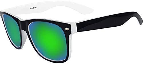 Sonnenbrille, Zwei-Ton, reflektierende Gläser, Vintage, Retro, klassisch, für Herren und Damen, UV400, iceBoo, Grün, iceBoo