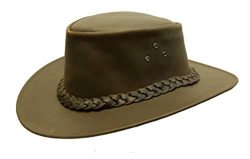 Kakadu Traders Australia Outdoor - Outback Leder Hut aus Glattleder in braun mit geflochtenem 3-Strang Hutband | 2.Wahl Braun X-Large -
