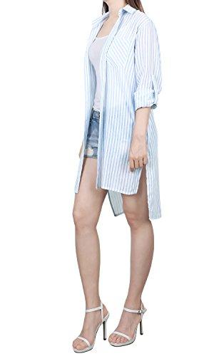 ililily Damen Gestreift Muster Knopf Daunenfeder Hemd Lang Seite Schlitz Sommerkleidung Jacke, Sky Blue (Roll Sleeve Stripe Shirt)
