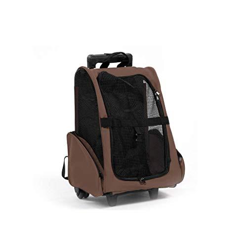 MSchunou Multifunktions-Haustier-Taschen-Reise-Fördermaschine, Taschen-Handtasche, Kampieren, Haustier-Multifunktionslaufkatzenkasten (Color : Brown) (Flugzeuge Koffer)