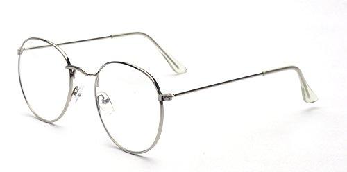 ALWAYSUV Modische Runde Rahmen Brillenfassung Klare Linse Brille Nerdbrille