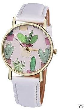 Souarts Damen Einfach Design Kunstleder Kaktus Armbanduhr Quartzuhr Analog mit Batterie Weiß