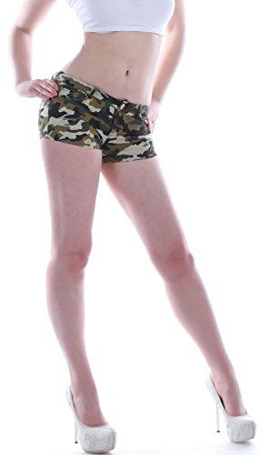 Camo Hot Shorts (Damen Hotpants Jeans Camouflage Camo Hüftjeans Shorts)