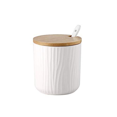 OnePine 300ml/10.56 oz Keramik Gewürzdosen Zuckerdose Keramik Zucker Schüssel mit Löffel und Bambus Deckel für Tee Zucker Salz Gewürze Bei Zuhause und Küche (Deckel Mit Salz Schüssel)