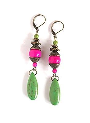 Boucles d'oreilles pendantes, Bohême chic, Boho, vert et fushia