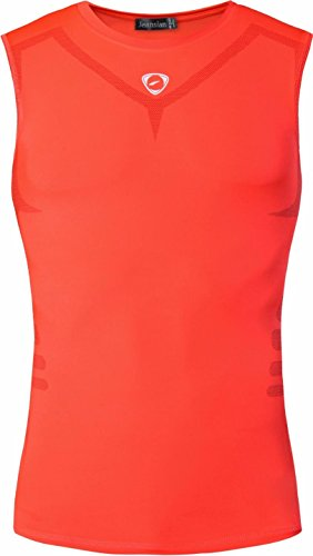 jeansian Uomo Sportivo Palestra Muscolo Gilet Quick Dry Compression Sleeveless T-shirt Workout Vest Tank Top LSL207 Orange