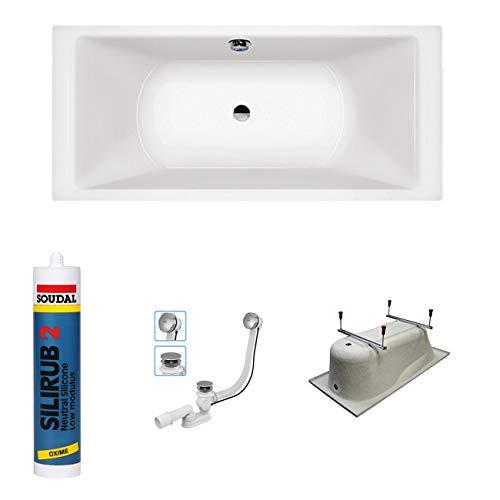 bestshop24.eu Premium Rechteck Badewanne Acryl Borneo 200x90 cm - Füßen, Ablaufgarnitur McAlpine 100 cm, Silikon GRATIS