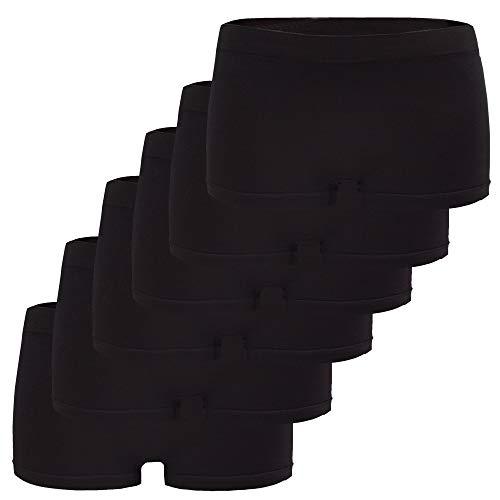 Fabio Farini 6er-Pack Damen Seamless Panties Hipsters Boxershorts aus weichem Microfaser-Gewebe, Farbe: Schwarz, Größe: 36-38/ S-M -