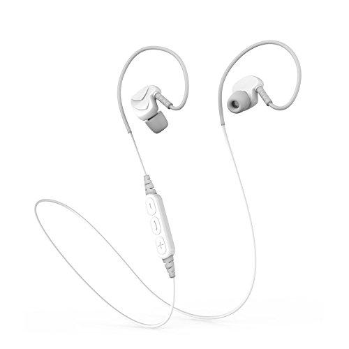 Finoki Bluetooth Kopfhörer 4.1 Sport Funk-Headset Wireless Headset drahtlosen Kopfhörer Bass-Effekt Ear Ohrhörer Noise Reduction Bluetooth-Headset (Weiß)