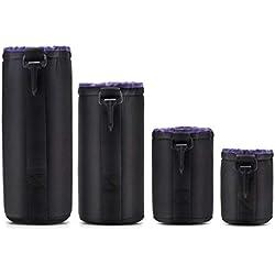 4pcs / pack DSLR SLR Camera Lens Sac de protection Étui en néoprène imperméable Doublure intérieure Doublure intérieure rembourrée Etui antichoc Anti-poussière (Noir & violet)