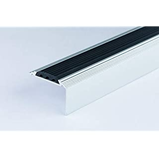 Anodised Aluminium Stair Nosing Edge Trim Step Nose Edging Nosings - Titanium, Silver, Gold -2.4 Meter Length by TMW Profiles (Silver)