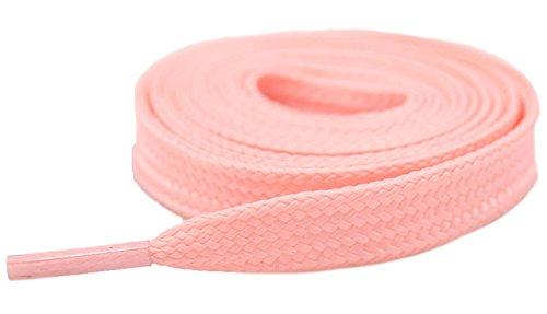 Santimon Leuchtend Schnürsenkel Flach Flachsenkel Sneaker Sportschuhe Schuhbänder Arbeitsschuhe Stiefel- 2 Paar - 10mm breit Pink 180 CM