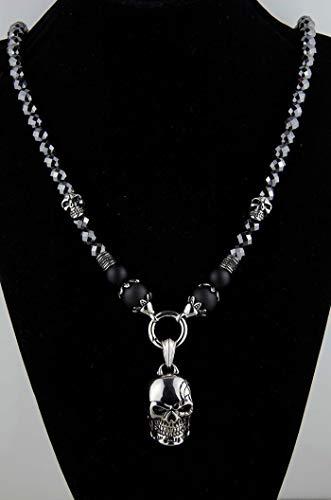 Herren Männer Damen Schädel Halskette Rosenkranz Onyx Hämatit Schmuck Perlenkette Bikerschmuck Edelstahl Gebetskette Geschenke Rocker Handmade