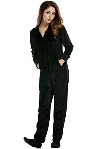 Unibelle Damen Schlafanzug einteilig mit Kapuze Footed Jumpsumait Pyjama Schwarz S