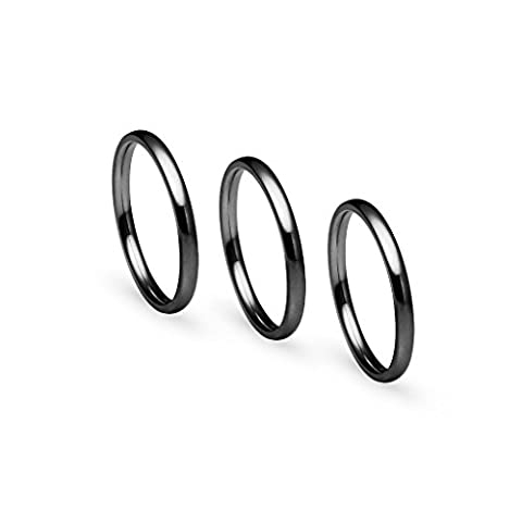 Stackable 3 Piece Set of Black IP Tone Stainless Steel Plain Comfort Fit Wedding Band Ring, Size 5