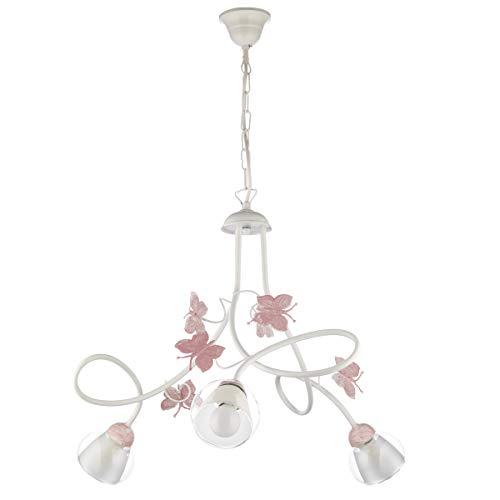 Onli lampadario 3 luci cameretta in metallo bianco con farfalle dipinte in rosa