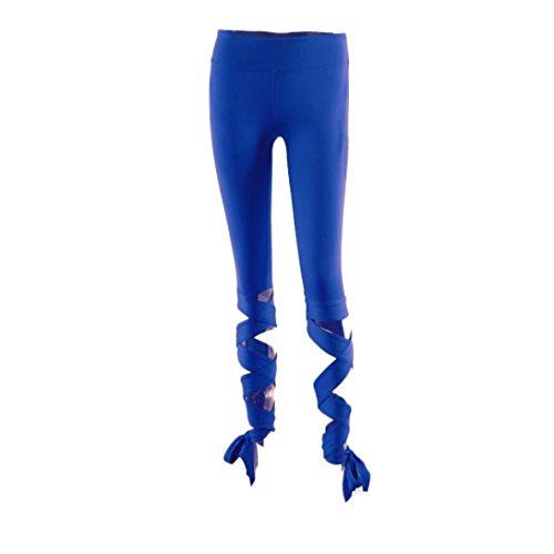 Pantalon de Yoga femmes,Jimma Jambières de Yoga femmes recadrées pantalons de sport de Fitness Sports Gym Workout Bleu