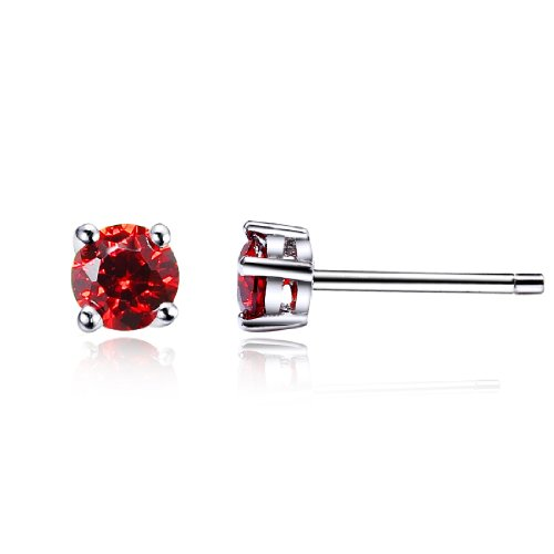 Da donna swarovski elements cremisi rotonda stile classico argento 925 orecchini