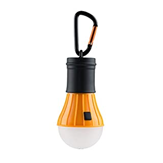AceCamp Battery Powered LED Camping Lamp I Waterproof Hanging Tentlamp I Dimmable with 40 lumens I Includes 3 AAA Batteries And Snap Hooks I Orange I 1028-ace