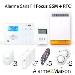 Focus - Alarme Maison sans fil Focus GSM + RTC - 7 Pièces et +