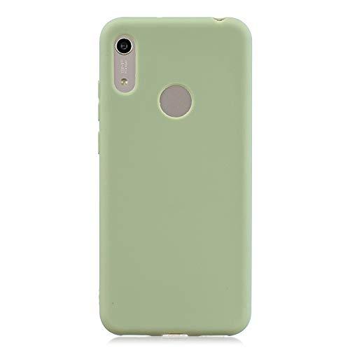 FNBK Kompatibel mit Huawei Honor Y6 2019/Y6 Pro 2019 Hülle Einfarbig Weiches TPU Schutzhülle Teleskophalterung Handycase Handschlaufe Ultradünn Hülle Stoßfest Handyhülle Grün