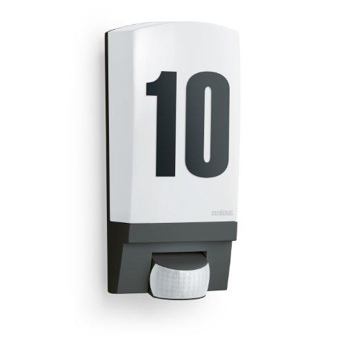 Steinel Wandlampe L 1 schwarz, Inkl. Hausnummer, E27, Max.60 W, Wandleuchte außen, 180° Bewegungsmelder, 10 m Reichweite