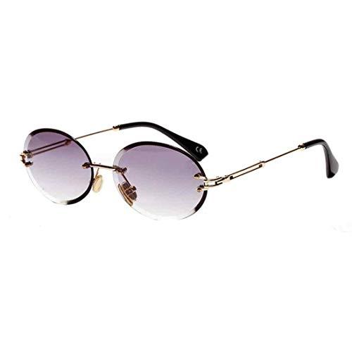 Inlefen Ovale randlose Sonnenbrille mit rundem Farbverlauf