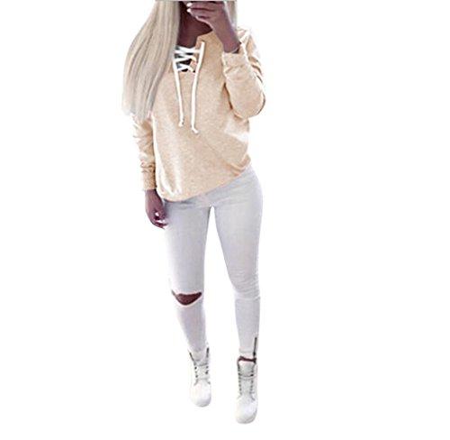 Hipzop Femmes automne Pull à manches longues Tops à lacets Chemisier Sport Casual T-shirt Kaki