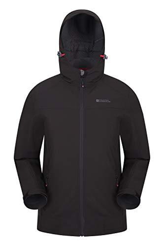 Mountain Warehouse Veste Softshell Reykjavik Hommes - Manteau résistant à l'eau, Ajustement réglable, protège-Menton, Manteau Respirant - Marche, Usage Quotidien Noir XXL