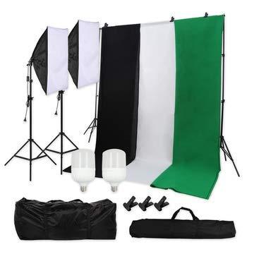 Hintergrund Fotostudio Set Baumwolle HomeLand Dauerlicht Softbox LED Studioleuchte Greenscreen Set Fotoleinwand Hintergrund 2 x 2m Hintergrundsystem 1.8x2.8m Hintergrundstoffenx3 Tragtasche
