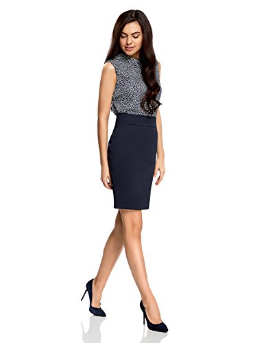 oodji Collection Damen Gerader Rock aus Strukturiertem Stoff Blau (7900N)