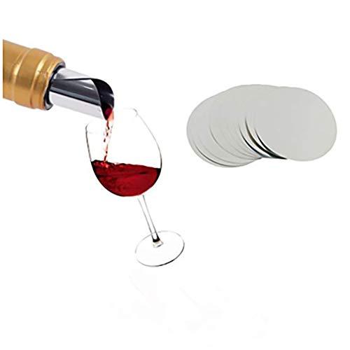 10/25 / 100 Stück Weinausgießer/Tropfstopp/Ausgießkarten - Dünn und wiederverwendbar, für Wein/Whisky-Folie, Silberfarben 7,5 cm As Shown1