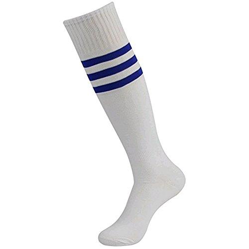 Dosige Frau Mädchen Über Den Knie Lang Fußball Rugby Socks Cheerleader Strümpfe Sport Tights mit Klassik Dreibettzimmer Stripes Socken White Blau -