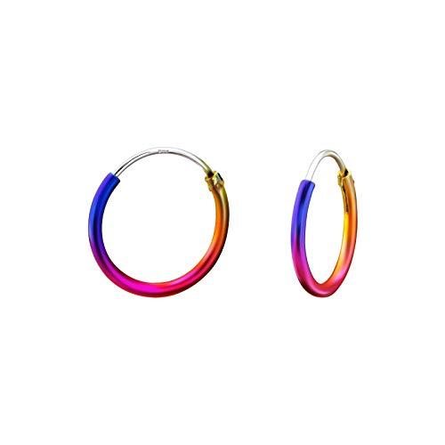 Monkimau Silber Creolen Ohrring-e 925 Sterling Hoop Ring Huggie 16 mm Rainbow Kreolen Unisex Ohrschmuck Damen-Schmuck Frau-en Kinder-Schmuck Mädchen-Ohrringe Geschenk-e