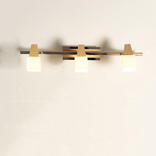 Kmyx lampada da specchio a specchio da bagno in legno g9 lampada da parete a paralume in vetro bianco a led 2 luci o 3 luci lampada frontale a specchio per camera da letto corridoio soggiorno parete attrezzata lampada da parete applique da parete ( color : style b-three head )