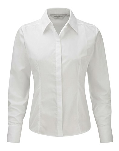 Womens 3/4 Sleeve Poplin Shirt (Russell Collection Damen Bluse Gr. XXXX-Large, Weiß - Weiß)