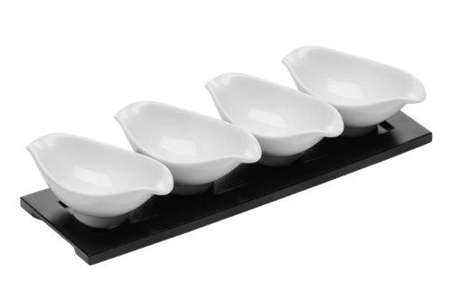 Ovale Dip-set (Premier Housewares Ovale Dip-Schälchen aus Porzellan mit mattschwarzem Tablett weiß 4-teiliges Set)
