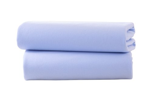 Clair de Lune Cot Bed Cotton Jersey Flat Sheets (Pack of 2, Blue)