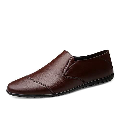 Derby-panel (DINGGUANGHE-SHOES Lackleder Herren Business Loafer Schuhe bequem aus echtem Leder lässig elastisch Gored Panel Flat Pull On Round Toe Abendgarderobe Dress Schuhe (Color : Braun, Größe : 43 EU))