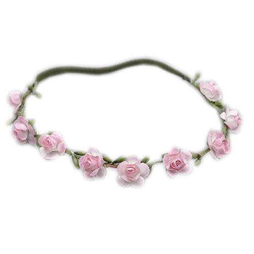 Haarband Haarkranz für Kinder Stirnband mit Gummizug Blumenkranz Haarschmuck rosa OW-090